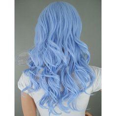 Long hair, blue pastel, lavendar