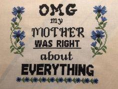 Burlap, Cross Stitch, Reusable Tote Bags, Wisdom, Embroidery, Words, Quotes, Quotations, Punto De Cruz
