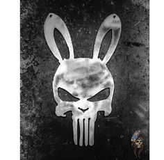Excited to share this item from my #etsy shop: Punisher Bunny Skull Metal Wall Art Punisher, Mythical Creatures, Metal Wall Art, Sculpture Art, Disney Characters, Fictional Characters, Bunny, Skull, Birds