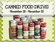Canned Food Drive: November 18 – November 25