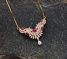 Ruby and Diamond Pendant with Gold Chain