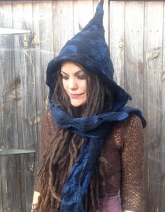 The 'Dance of the Warlock' Felted Hooded Scarf Wizard Witch Hat Pixie Hood Fae Elf Elven Cosplay Costume, Pagan Fantasy LARP Wear