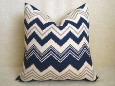 Decorative Ikat Chevron Pillow - Navy Blue - 18 inch - Ikat Pillow - Linen Pillow - Toss - Flamestitch Pillow - Throw Pillow - Zig Zag