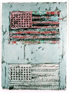 Jasper Johns, Flags. Look at how expressive and intentional his lines are.