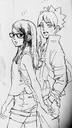 Sarada and Boruto Anime Naruto, Naruto Uzumaki, Naruto And Sasuke, Sarada Uchiha Manga, Tenten Y Neji, Boruto And Sarada, Naruto Fan Art, Naruto Cute, Sakura And Sasuke