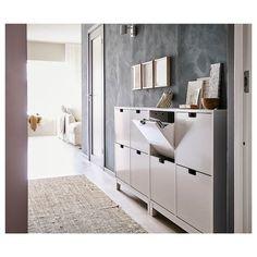 STÄLL Shoe cabinet with 4 compartments - white - IKEA - Home decor - Einrichtung Ikea Shoe Cabinet, Ikea Shoe Storage, Hallway Cabinet, Paint Storage, Storage Racks, Small Storage, Storage Room, Storage Ideas, Flur Design