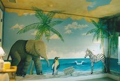 Beach cabanna mural with elephant, penguin and zebra.