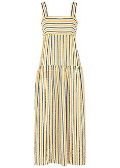 Three Graces Cosette striped seersucker maxi dress - Harvey Nichols Holiday Wardrobe, Summer Outfits, Summer Dresses, Harvey Nichols, Seersucker, Striped Dress, Warm Weather, Dress Making, Dressing