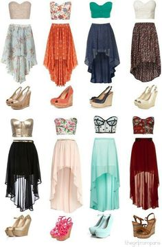 ♥ high low skirt outfits. They are so feminine and flirty. I like how they provide more dimension and visual interest than a regular skirt. And these tops are just cute. These out fits just screams summer to me!