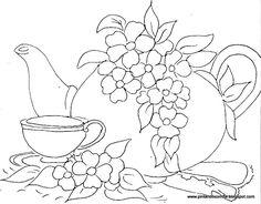 bule com xicara  e flores