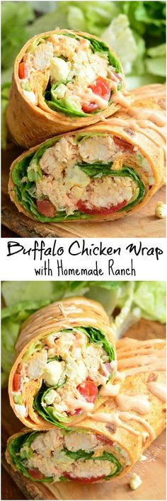 Buffalo Chicken Wrap with Homemade Ranch. Delicious, light lunch idea that's quick and easy to make. This Buffalo Chicken wrap is made with chicken cooked in buffalo sauce, blue cheese crumbles and veggies. It's all drizzles in homemade ranch dressing. Buffalo Chicken Wraps, Ranch Recipe, Cooking Recipes, Healthy Recipes, Healthy Snacks, Carrot Recipes, Lentil Recipes, Rib Recipes, Avocado Recipes