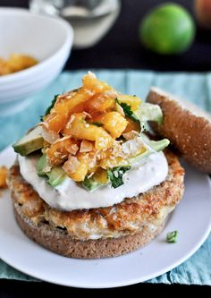 Shrimp Burgers with Chipotle Cream and Coconut Peach Salsa | howsweeteats.com