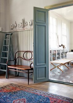 shades of blue and gray (renovated Swedish schoolhouse via Elle Decor Sweden)