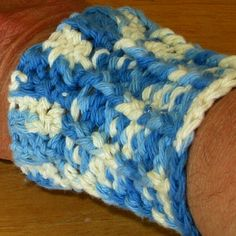 Shaded Denim Blue Wrist Cuff in Crocheted Cotton Yarn is  Protective - Hugs Your Wrist - Unisex Adult - Brand New #Handmade by @rssdesignsfiber of  RSSDesignsInFiber