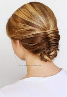 2017 Party Hairstyles for Long Hair with Fishtail Chignon