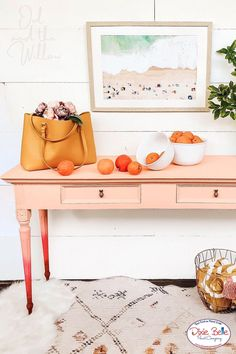 Take a dated hall table and transform it into an ombre entryway piece using Chalk Mineral Paint! We love how the artist used the colors Apricot, Peony, and Rustic Red by Dixie Belle Paint! Repurposed Furniture, Diy Furniture, Orange Painted Furniture, Small Hinges, Dixie Belle Paint, Bohemian Design, Mineral Paint, Cool Paintings, Paint Cans