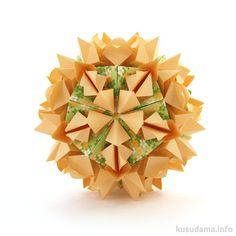 Kusudama: Laura Tutorial -  Collection «Flowered Pyramids» - Designer: Natalia Romanenko - Units: 30+20 -  Paper: 5*5 cm -  Final height: ~ 9.5 cm