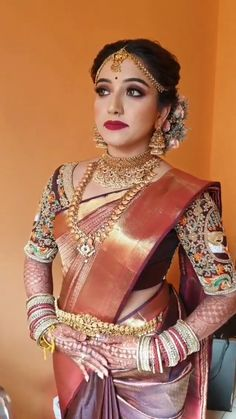 Bridal Sarees South Indian, Indian Bridal Fashion, Indian Wedding Outfits, South Indian Bride, Bridal Outfits, Indian Sarees, Indian Jewellery Design, Bridal Jewellery, Gold Jewellery