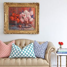 Mixed pattern throw pillows, would make a lovely sitting room