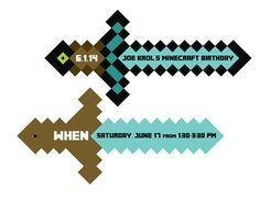 Sword Invite Minecraft Inspired PRINTABLE by BsquaredDesign, $9.50
