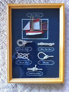 Nautical Shadow Box Knot Board Picture - Sailing Knots and Wood Sail Boat $35