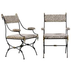 Pair of Directoire Style Armchairs in Iron and Brass | From a unique collection of antique and modern armchairs at https://www.1stdibs.com/furniture/seating/armchairs/