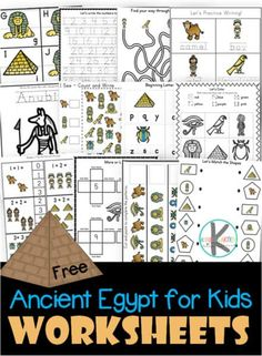 FREE Ancient Egypt for Kids Worksheets - over 71 pages of printable math and lit. - FREE Ancient Egypt for Kids Worksheets – over 71 pages of printable math and literacy skills pract - Ancient Egypt Lessons, Ancient Egypt Activities, Ancient Egypt Crafts, Ancient Egypt For Kids, Ancient History, Worksheets For Kids, Printable Worksheets, Free Printables, Ancient Egypt Fashion