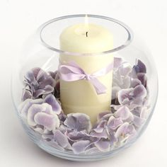 Natural Rose Petals & Candle in a Fishbowl Vase.