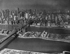 NYC. Queensboro Bridge over Roosevelt Island and Upper East Side, 1970