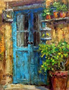 "Daily Paintworks - ""Door In France With Canaries"" by Julie Ford Oliver"