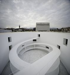 """Andalucia's Museum of Memory by Alberto Campo Baeza located in Granada, Andalucía, Spain. """"We would like to make """"the most beautiful building"""" A As Architecture, Contemporary Architecture, Healthcare Architecture, Ramp Stairs, Ramp Design, Classic Building, Modelos 3d, Staircase Design, Staircase Ideas"""