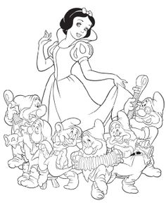 Princess Snow White Was With The Dwarf Coloring Pages