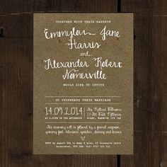 Calligraphy Wedding Invitation   Kraft Effect