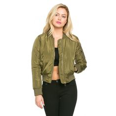 Classic Flight Bomber Jacket in Olive Green ($45) ❤ liked on Polyvore featuring outerwear, jackets, zipper jacket, green camo jacket, pocket jacket, military green bomber jacket and blouson jacket
