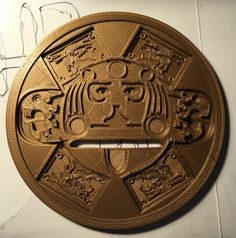 This is my own take on an Aztec coin, it's based on the Aztec calendar design. The original calendar is exceeding intricate, I captured the main Aztec Calendar, Calendar Design, Love Tips, Coins, Printing, Personalized Items, Coining, Rooms, Typography