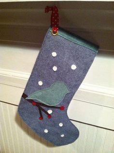 Christmas Snow Bird Wool Felt Christmas Stocking Handcut and sewn together
