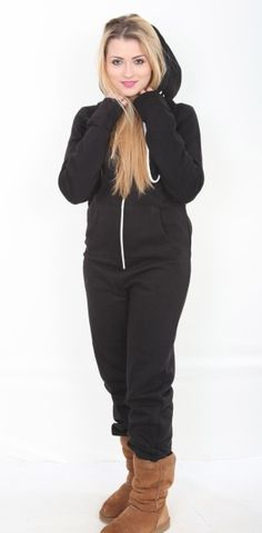 I am sorry...but this is so cute. I actually kinda want one and I think I may for christmas. A black hooded adult onesie suitable for both men and women Smaller sizes also perfect for school teams and teens This black onesie is cotton mix 50