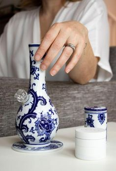 Ceramic Bong and Stash Jar Set by My Bud Vase. Free Canada & US Shipping. Glass Pipes And Bongs, Glass Bongs, Cool Glass Pipes, Cool Pipes, Stash Containers, Stash Jars, Fern Flower, Flower Vases, Pipes And Bongs