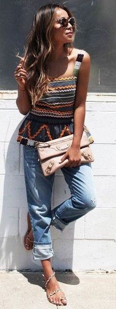 #summer #casualchic #outfits | Embellished Peplum Top + Boyfriends