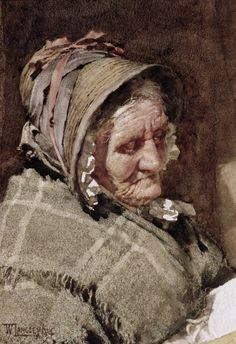 """arsvitaest:    """"A Newlyn Fish Wife""""  Author: Walter Langley (English, 1852-1922)Date: 1894Medium: Watercolor on paper"""