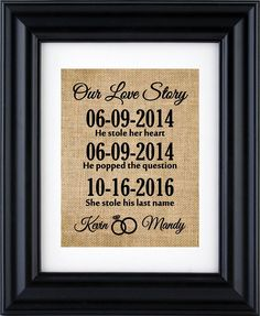 "Our Love Story Sign,Important Date Art, Important Date Sign,Personalized Engagement / Wedding / Anniversary Gift,Our Love Story Burlap Print (Frame not Included)-1P. Our Personalized Love Story sign -"" He stole her heart "",""He popped the question"", ""She stole his last name"" wall art decor is a perfect keepsake for engagements, weddings, anniversaries,valentine gift or for self. Use custom burlap prints to make your memories forever. To view our entire collection click on below link::..."