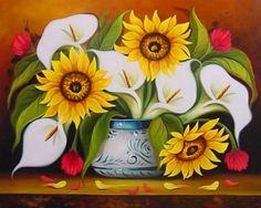 flores para pintar cuadros en láminas