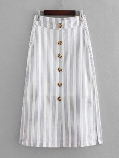 Women Casual Slit Striped Shift Mid Waist White Long/Full Length Button Through Slit Side Skirt Source by daydaychic y faldas Girly Outfits, Classy Outfits, Skirt Outfits, Trendy Outfits, Dress Skirt, Hijab Fashion, Boho Fashion, Fashion Outfits, Fashion 2018