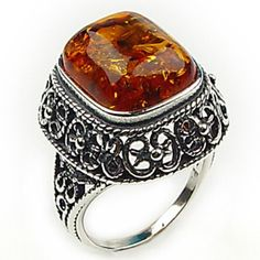 Honey Amber Sterling Silver Filigree Ring Sizes 56789101112 * Check out the image by visiting the link.