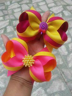 Diy Hair Bows, Diy Bow, Bow Hair Clips, Ribbon Art, Ribbon Crafts, Ribbon Bows, Ribbons, Boutique Bows, Fancy Bows
