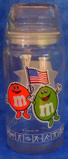 Vintage 1980 LA Olympics Mars M & M Candy Jar with Lid E6 #MMCandy