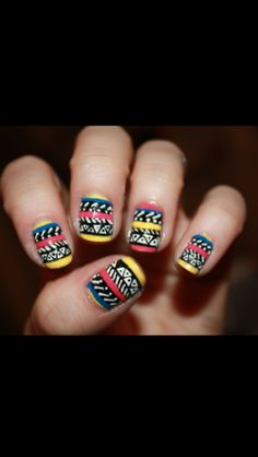 cool yellow pink black white nails !!<3