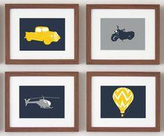 Transportation Wall ART, baby boy nursery, set of 4, 5 x 7 PRINTS - you choose the colors and vehicles. $40.00, via Etsy.