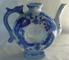 Lovely Vintage Oriental Asian Tea Pot Dragon Leaves Greek Key Doughnut Shape
