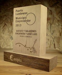 Trofeo de madera maciza, por grabolaser